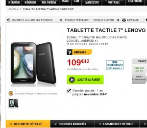 tablette lenovo a1000 qui revient moins de 70 euros. Black Bedroom Furniture Sets. Home Design Ideas