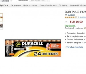 piles duracell aa