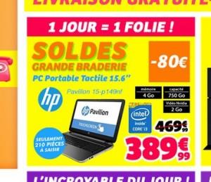 bonne affaire pour un pc portable assez puissant 3899 euros sur cdiscount un pc portable hp 15 pouces avec ecran tactile processeur core i3 carte - Soldes Pc Portable 15 Pouces