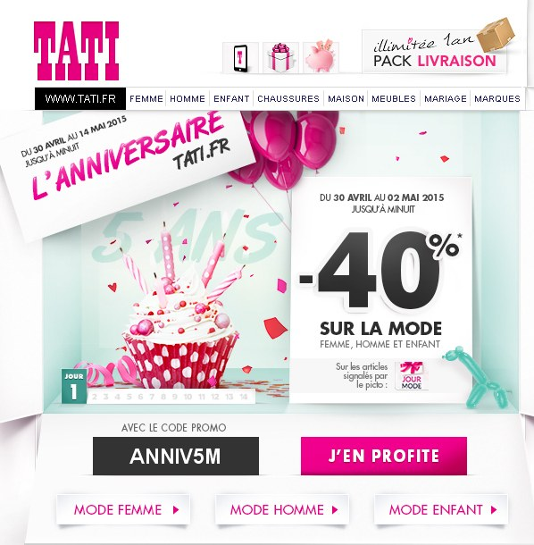 40 pourcent de remise sur le site tati bons plans bonnes affairesbons plans bonnes affaires. Black Bedroom Furniture Sets. Home Design Ideas