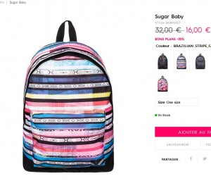 1d2ce8fa8cc pour un sac à dos de la marque Roxy .. à 9.6 euros livraison incluse