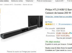 barre de son avec caisson de basses philips pas ch re 119 euros bons plans bonnes affaires. Black Bedroom Furniture Sets. Home Design Ideas