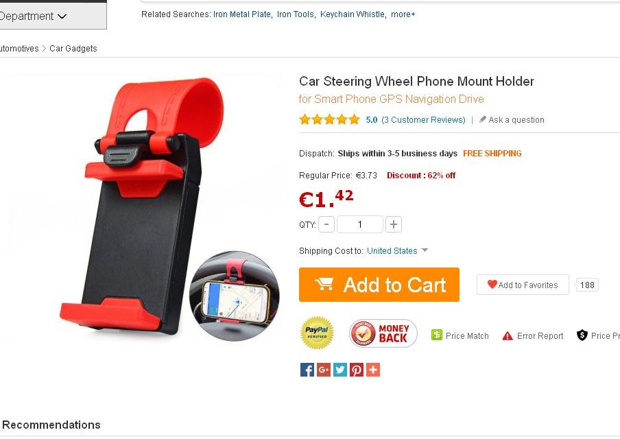 support smartphone pour voiture euros port inclus qui se fixe au volant bons plans. Black Bedroom Furniture Sets. Home Design Ideas