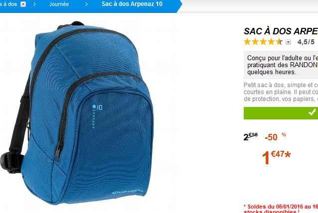 sac dos decathlon pas cher moins de 1 5 euros bons. Black Bedroom Furniture Sets. Home Design Ideas