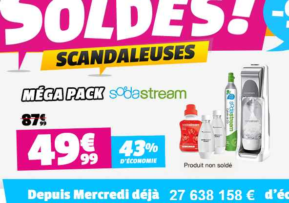 moins de 50 euros le mega pack sodastream bons plans bonnes affaires. Black Bedroom Furniture Sets. Home Design Ideas