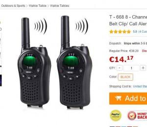 paire de talkie walkie pas cher 14 euros bons plans bonnes affaires. Black Bedroom Furniture Sets. Home Design Ideas