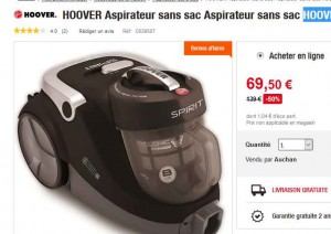 aspirateur hoover sans sac moins de 70 euros bons plans bonnes affaires. Black Bedroom Furniture Sets. Home Design Ideas