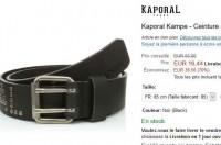 Ceinture kaporal en cuir pour hommes à 16.5 euros