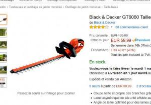 taille haie black et decker 59 9 euros au lieu de 100. Black Bedroom Furniture Sets. Home Design Ideas