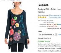 Tee shirt long desigual à 21 euros