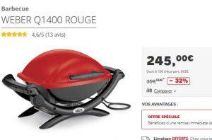 barbecue weber q1400 au meilleur prix 245 euros bons. Black Bedroom Furniture Sets. Home Design Ideas