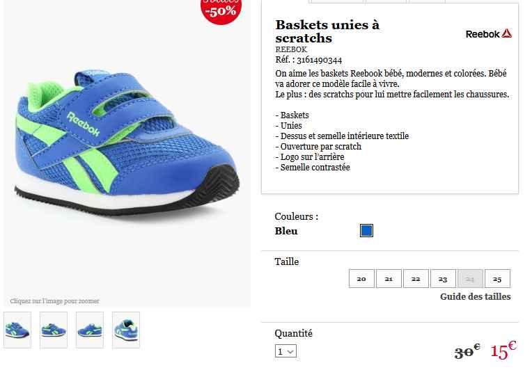 Les Pour Petits 20 Reebok 25Bons Enfantsdu 15€ Au Baskets bfg7y6Y