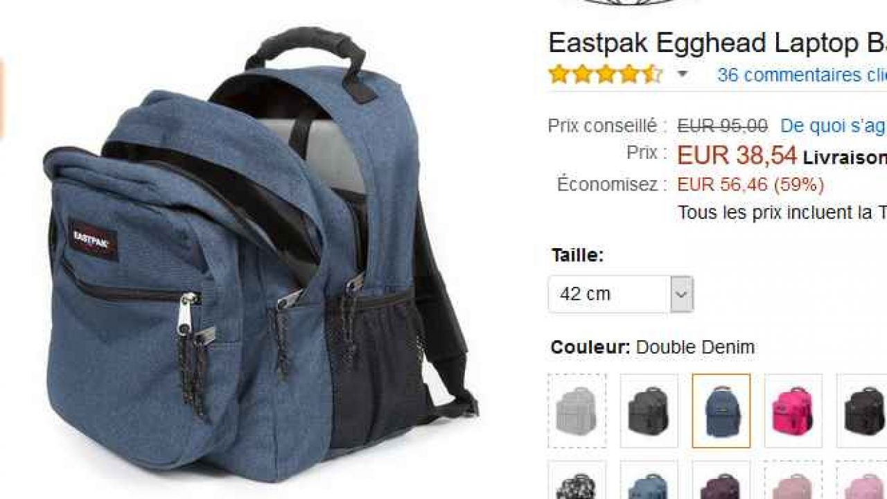 36€ le gros sac à dos Eastpak EggHead de 36litres | Bons
