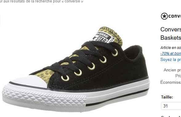 4658bf897bf13 Chaussures converse filles à 15 - 16€ ( en 27 28 29 31) - Bons Plans Bonnes  Affaires