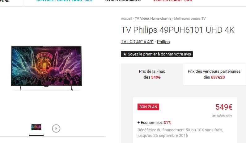 tv philips 49 pouces 4k 549 fnac bons plans bonnes affaires. Black Bedroom Furniture Sets. Home Design Ideas