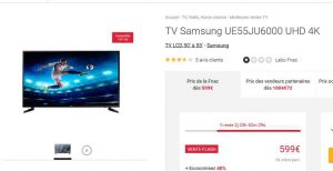 tv samsung 55 pouces 4k moins de 600 bons plans bonnes affaires. Black Bedroom Furniture Sets. Home Design Ideas