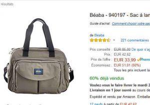 5bc6453b02 Bonne affaire pour les parents de bébés pour le top du sac à langer : le beaba  geneve 2 vendu en vente flash à 33.99€ sur amazon