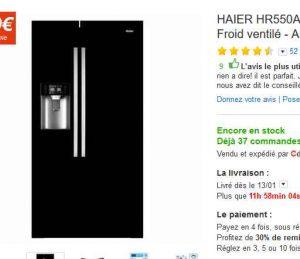 frigo americain haier 600 bons plans bonnes affaires. Black Bedroom Furniture Sets. Home Design Ideas