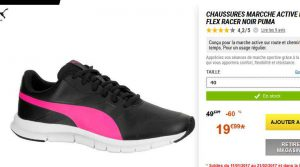 55a9b0d5ceb2 Bonne affaire dans les soldes decathlon pour une paire de chaussures de  running / marche pour femmes : les puma FLEX RACER …
