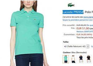 b7a1ab0700 Un bon prix encore pour un polo lacoste : 51€ le polo de couleur bleu  bermude …