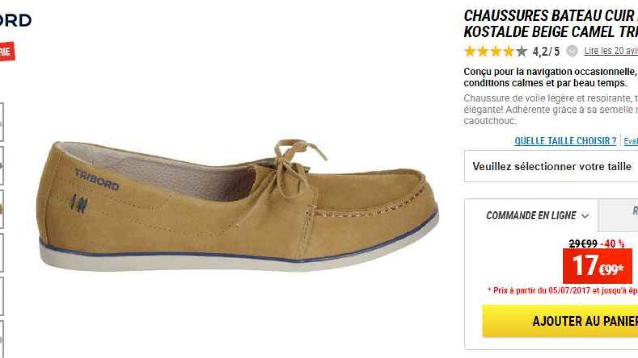 livraison gratuite 7ad27 444ca Chaussures cuir bateau decathlon pour femmes à 18€ (36 37 38 ...