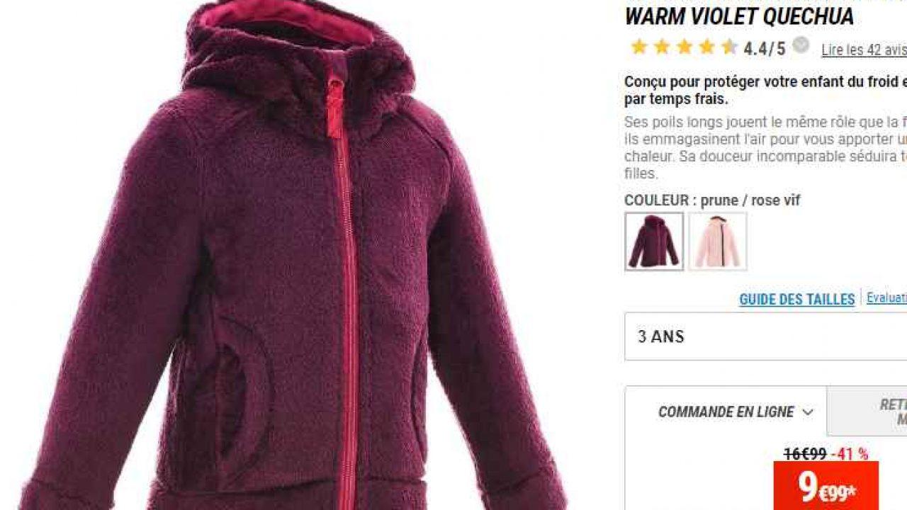 prix compétitif 2d40b 06e6e 9.9€ la veste polaire chaude quechua pour petites filles (2 ...
