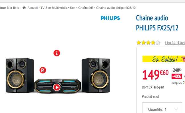 149 la chaine hifi philips fx25 12 magasin conforama bons plans bonnes affaires. Black Bedroom Furniture Sets. Home Design Ideas