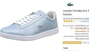 726b63351e Bon prix pour des chaussures LACOSTE FEMMES .. dans les soldes amazon, il y  a les CANARBY de couleur bleue soldées autour de 44-45e dans de nombreuses  ...