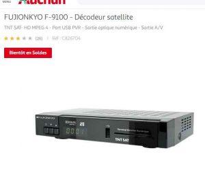Carte Tnt Auchan.Moins De 50 Le Decodeur Tnt Satellite Fujionkyo F 9100