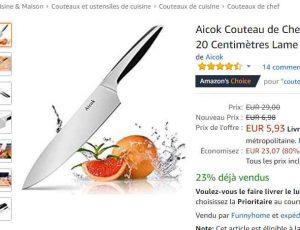 Aicok Couteau moins de 5€ le couteau de cuisine avec une lame 20cm - bons plans