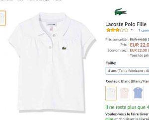 7e539c4de5b Petit prix pour un Polo Lacoste pour petites filles   22€ sur amazon