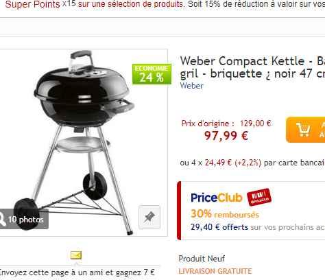 barbecue weber compact kettle qui revient 68 bons plans bonnes affaires bons plans bonnes. Black Bedroom Furniture Sets. Home Design Ideas
