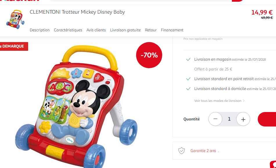 Moins de 15€ le trotteur Clementoni Disney